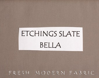 One Yard Etchings Slate Bella Cotton Solid Fabric from Moda, 9900 170