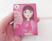 Fridge magnet mixed media art ACEO - Courage