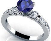 Round Cut Blue Sapphire Engagement Ring 14k White Gold Art Deco Natural Blue Sapphire Ring September Birthstone