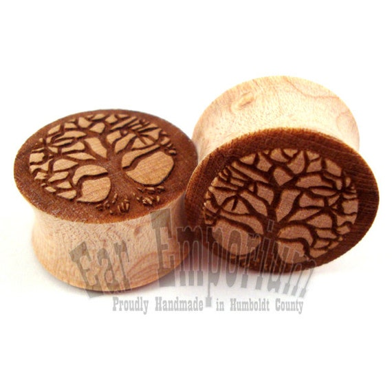 """Tree of Life Maple Wooden Plugs 2g (6mm) 0g (8mm) 00g (9mm) (10mm) 7/16"""" (11mm) 1/2"""" (13mm) 9/16"""" (14mm) 5/8"""" (16mm) 3/4"""" (19mm) 7/8"""" (22mm)"""
