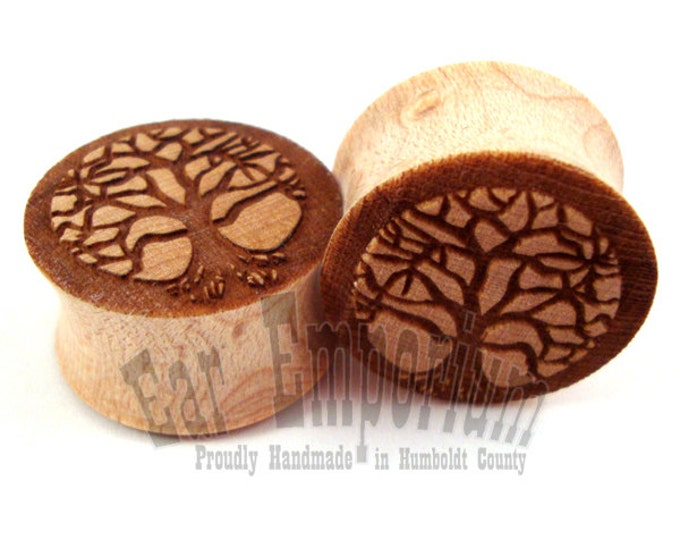 "Featured listing image: Tree of Life Maple Wooden Plugs 2g (6mm) 0g (8mm) 00g (9mm) (10mm) 7/16"" (11mm) 1/2"" (13mm) 9/16"" (14mm) 5/8"" (16mm) 3/4"" (19mm) Wood Gauges"