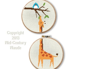 Giraffe Cross Stitch Pattern PDF Digital Instant Download Needlepoint