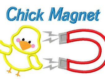 Chick Magnet Embroidery T shirt Embroidered