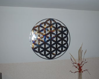 "40"" Flower Of Life,Heat Colored, Metal Wall decor, Metal Art"