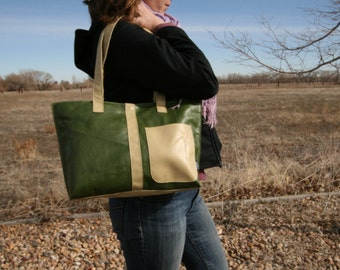 Fern Green Leather Mini Tote--leather bag-handmade-made in usa-upcycled leather-cwinn designs-tote-bag-