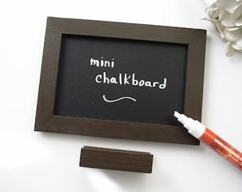 Guy Gift Mini Chalkboard - Eco-Friendly Magnetic Blackboard for the Fridge or File Cabinet or Desktop in Espresso Brown