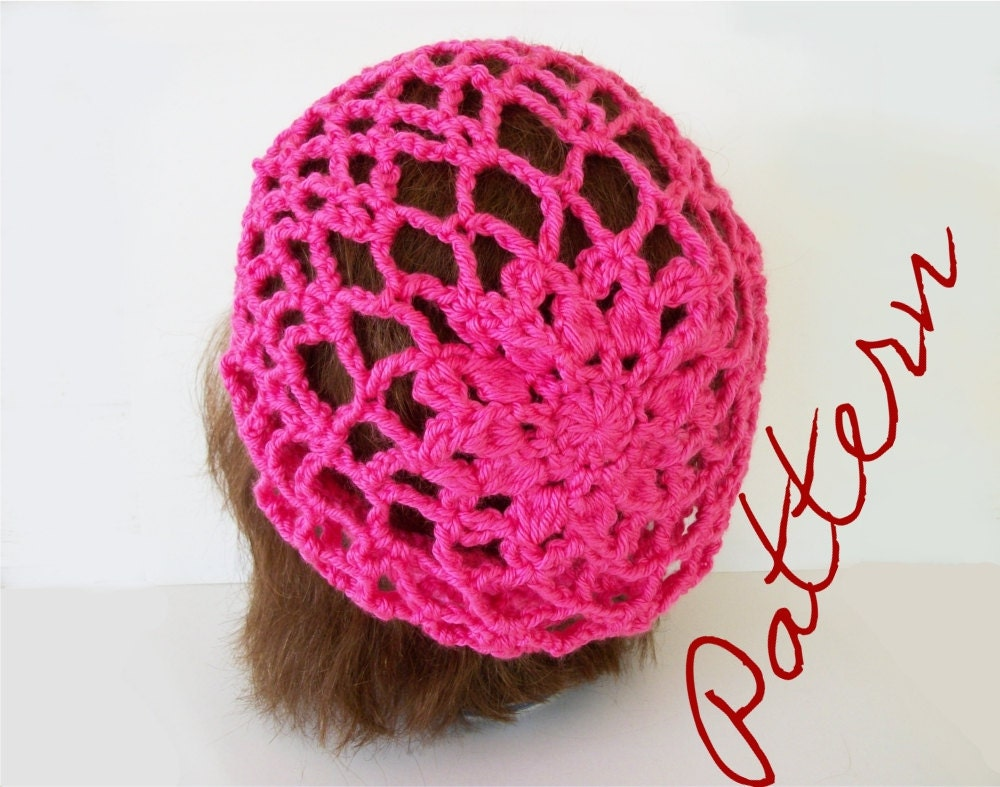 Floral Crochet Hat Pattern : Crochet Pattern Lace and Flower Slouch Hat With Crochet Chart