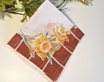 Handkerchief Hanky Hankie Vintage Hankys Hankies Antique Handkerchief Hankerchief Iris Daffodil