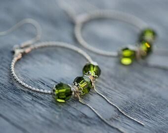 Hoop Earrings, Crystal Earrings, Swarovski Jewelry, Summer Earrings, Swarovski Earrings, Dangle Earrings, Large Earrings, Green Earrings