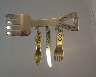 Vintage Sterling Silver Culinary Art Brooch Pin