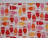 "FABRIC DESTASH - Large Remnant Urban Zoologie Pink Owls- 14"" W x 32"" L"