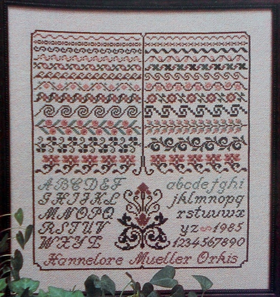 Hannelore M. Orkis SAXON BORDERS Sampler Museum Heirloom Quality Antique Style - Counted Cross Stitch Pattern Chart - fam