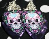 Girly Skull with Diamond Art Guitar Pick Earrings