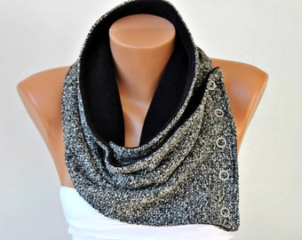 MEN scarf  / WOMAN / NECKWARMER  with snaps