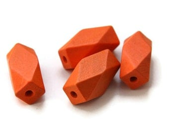 Orange Geometric Wood Beads, Orange wooden beads, faceted wooden beads, wood beads, Geometric jewelry W 70 003