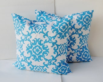 set of 2 damask Blue  Pillow Covers--Designer Fabric--18 x 18  --Throw Pillow-blue and white