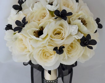 """17 Piece Package Wedding Bridal Bride Maid Of Honor Bridesmaid Bouquet Boutonniere Corsage Silk Flower BLACK IVORY """"Lily of Angeles"""" IVBK03"""