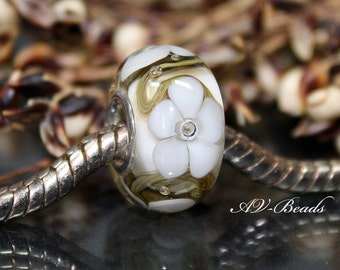 AV-Beads handmade Lampwork  European Charm (sterling silver rivets 4,5mm hole) SRA