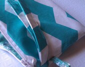Blue Chevron Wristlet Clutch / Cosmetic Bag/ Travel Pouch/Chevron Zippered Bag