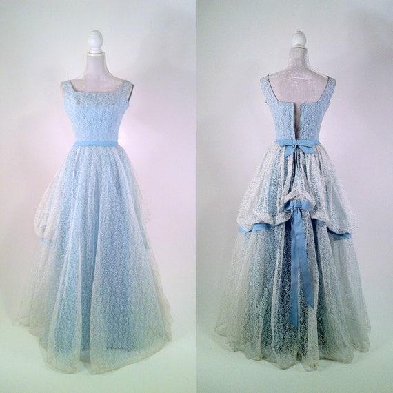 Vintage 1950s White Lace & Light Blue Gown Prom Dress