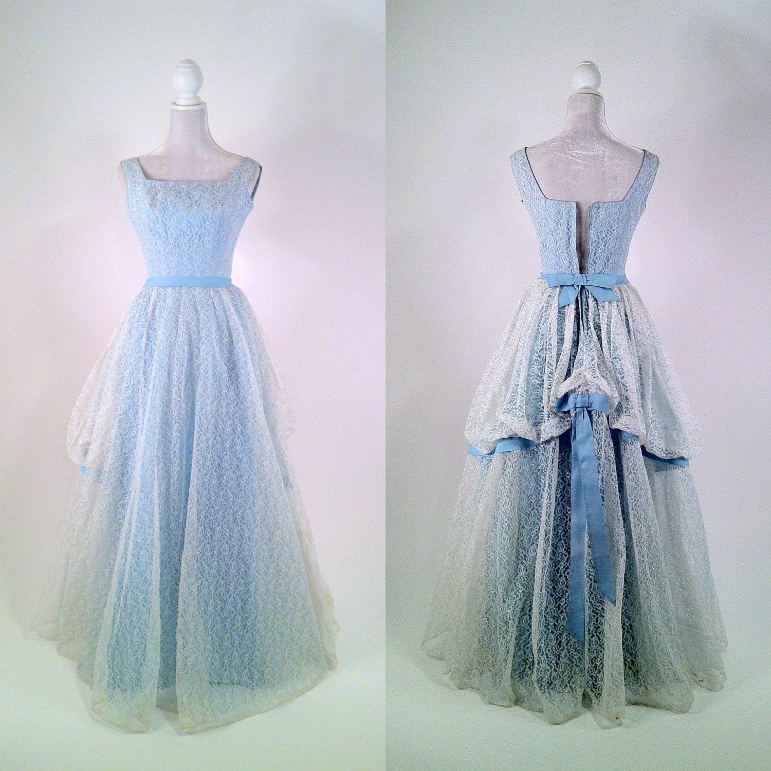 Vintage 1950s White Lace Amp Light Blue Gown Prom Dress