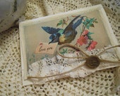 Bird Spring Bird Messenger Bird Love You Postcard Sewn Shabby  Card with Jute Ribbon, Vintage Lace, and Button