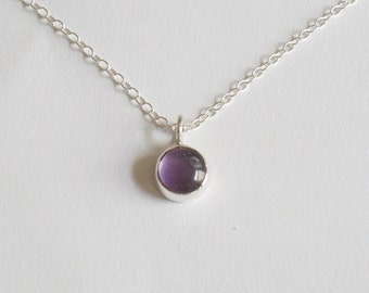 Amethyst Pendant (real amethyst cabochon 8mm in sterling silver)