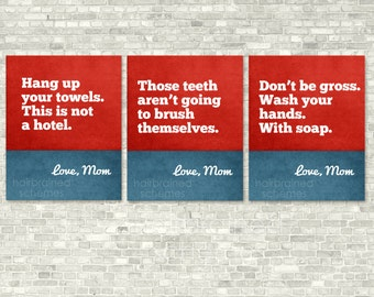 Poster Bathroom Typography Posters Washroom Print Triptych Decor - Snarky Sarcastic Art - Primary Red Blue