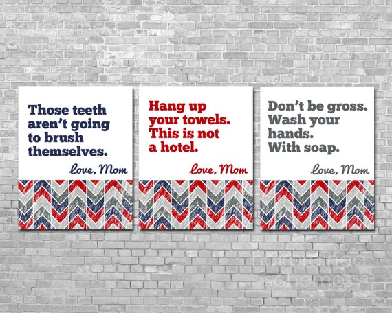 Washroom Typography Posters Bathroom Print Triptych - Snarky Sarcastic Art - Chevron Pattern Primary Blue Red Gray Poster Print