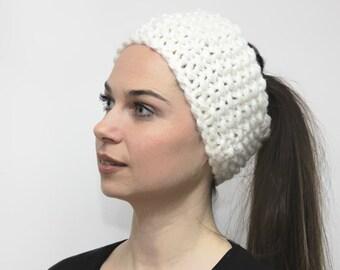 White Head band Hand Knit Earwarmer, Knitting Hair Accessories by Solandia, Head Wrap, Bulky Headband, Winter Fashion, Pretty Knitted Gift