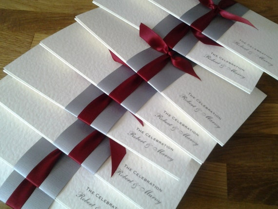simple wedding invitation - silver band & red ribbon (customisation available) - sample