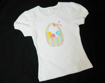 Easter holiday shirt with yellow, pink and blue spring chick-a-dee birds in a polka dot basket applique in sizes NB - 16