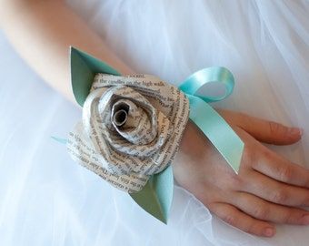 Book Page and Colored Paper  Wrist Corsage/Hair Accessory