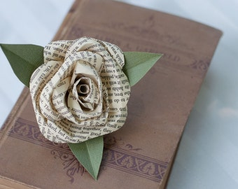 Book Page Rose Pin Corsage