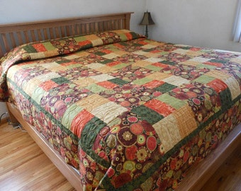 Modern Fall King Patchwork Quilt, Cabin Patchwork King Blanket, Flower Patchwork Quilt