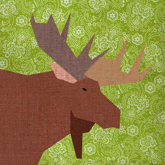 Moose Paper quilt block, paper pieced quilt pattern, PDF pattern, instant download, pieced quilt block pattern PDF, woodland pattern