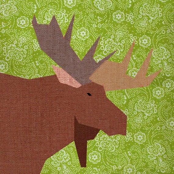 Moose Paper quilt block paper pieced quilt pattern PDF : moose quilt pattern - Adamdwight.com