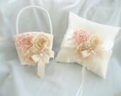 Vintage Wedding Pillow Basket - Ivory Ring Bearer Pillow, Flower Girl Basket Ring Pillow CUSTOM COLORS  too Wedding Pillow