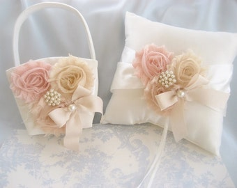Wedding Pillow and Basket -  Blush Rose Ivory Ring Bearer Pillow, Flower Girl Basket Set, Ring Pillow and Flower Girl Basket
