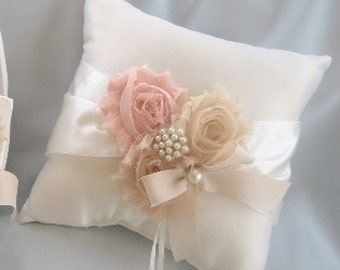 wedding ring pillow ring bearer pillow shabby chic vintage ivory and cream custom colors too - Wedding Ring Pillow