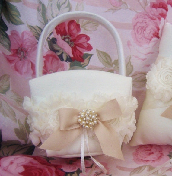 Flower Girl Basket Shabby Chic Vintage Ivory and Cream Custom Colors Wedding Basket