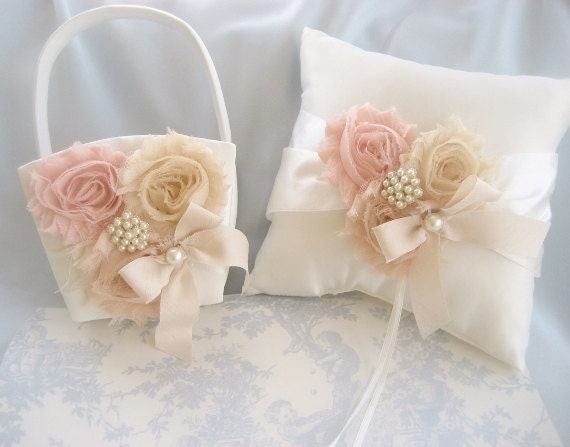 Flower Girl Basket And Ring Bearer Pillow By Nanarosedesigns