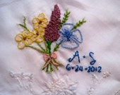 Custom Embroidered Vintage Wedding Handkerchief - Hand Embroidery - 2 lines plus large design/extra detail