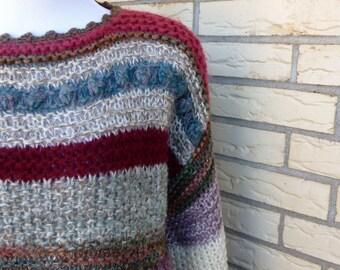 1980s Striped Pullover Sweater Hand Knit Textured Abvien Womens Vintage Medium