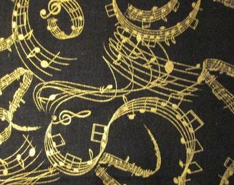Wavy Gold Music Notes Metallic Cotton Fabric Fat Quarter Or Custom Listing