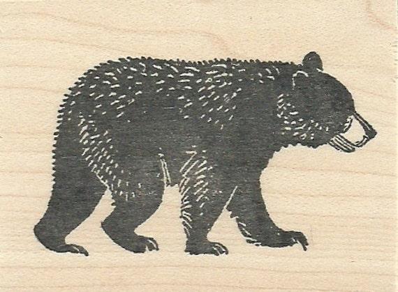 Walking Black Bear Wood Mounted Rubber Stamp Walking Bear Drawing
