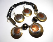 Vintage Modernist Hammered Copper, Silver and Brass Necklace and Earrings Demi Parure