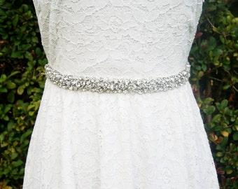 wedding sash, crystal sash, Bridal rhinestone beaded sash -Nadege -