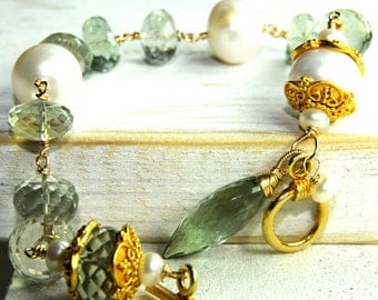 Mint Gteen Citrine Charm Bracelet with 13MM Fresh Water Pearls large Citrine Stones and Toggle Closure