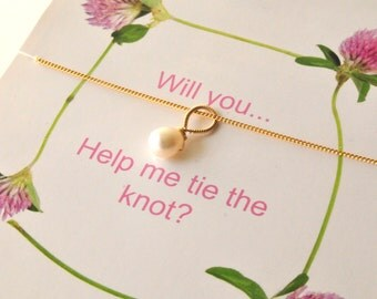 Tie The Knot Gifts/Bridesmaid Gifts with Card/Bridesmaid and Wedding Party Thank You Gifts/Simple Pearl Thank You Gifts